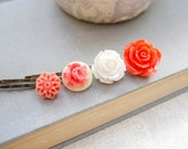 Bright Orange Flower Bobby Pins White Rose Floral Hair Accessories Coral Hair Pin Bright Modern Hair Clips Barrettes - Set of Four (4)