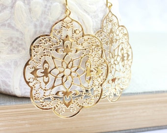 Big Gold Earrings Lace Filigree Earrings Large Dangle Spanish Style Boho Chic Gold Bridal Jewelry Bridesmaids Gift for Her Lightweight