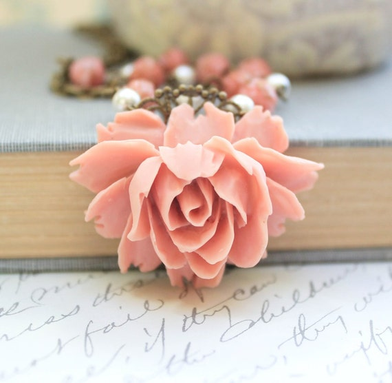 Big Pink Rose Necklace Vintage Style Necklace Pretty Country Chic Necklace Rose Pendant Pearl Chain Romantic Flower Jewelry Statement