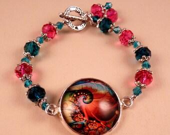 Glass Tile Bracelet Flower Bracelet Glass Tile Jewelry Pink Bracelet Beaded Jewelry Beaded Bracelet Gemstone Bracelet Gemstone Jewelry