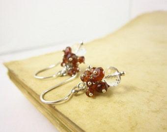 Due In January Birthstone Jewelry - Sterling Silver Earrings - Red Garnet Cluster Earring - Dark Red Gemstone Earrings - Dangle Earrings