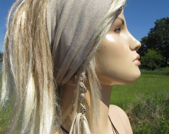 Hairband Yoga Hair Wrap Turban Knit Headband Hair Band Cotton Oatmeal Beige & Tan  A1149
