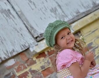 Girl's Newsboy Hat, Crochet Newsboy Hat for Girls, Crochet Hat for Girls, Crochet Girls Hats, Girl's Hat, Little Girl Hat, Little Girl Hats