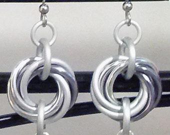 White Pearl Infinity Loop Pearl Chainmaille Earrings
