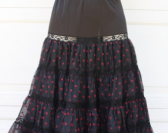 Vintage Crinoline Polka Dot Black With Red Flocked Polka Dots Petticoat Skirt