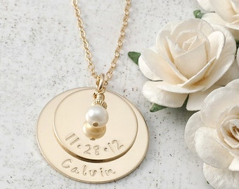 New Mommy or Grandma - Personalized Necklace with pearl or birthstone - Baby's name and date