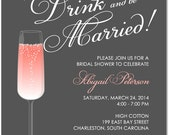 """PRINTED - Set of 25 (5"""" x 7"""") Eat, Drink and Be Married Happy Hour Champagne Bridal Shower, Engagement Party Invitation - ANY COLOR"""