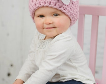 Pink Chunky Hat with Shabby flower / crochet hat / crochet winter hat / hat with flower / infant hat / newborn hat / baby hat / photo prop