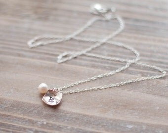 Initial Necklace - Personalized Handstamped Sterling Silver Tiny Square - New Mom Gift - Mommy Necklace - Valentine's Day Gift