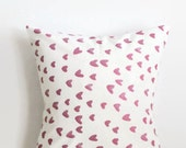 Pink Heart Pillow Cover - Kid Room Pillow Cover - Watercolor Hearts Room Decor