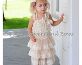 Champagne Rustic Lace Chiffon Dress  YOU CHOOSE Color Headband...Flower Girl Dress, Wedding Dress, Baptism Dress  (Infant, Toddler, Child)