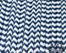 NAVY BLUE  Chevron Eco-friendly Paper Party Straws & Digital Flags - - -Made in the U S A - - -Fda approved