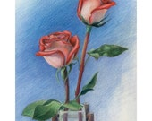 """Two red, white, & pink roses on blue - """"Romance"""" - Blank Note Card - Greeting Card, Stationery, Wedding, Anniversary, Just Because, Flowers"""