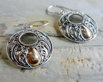 Silver Rose Gold Earrings, Sterling Silver Earrings, Silver Round Earrings, Filigree Earrings, Round earrings, Dangle Earrings FUEG575