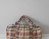 vintage large handmade plaid duffle bag / weekender / grunge hippy style bag / traveling carrying case / patchwork