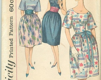 Vintage Sewing Pattern Simplicity 3750 Ladies 60s Dress With Cummerbund