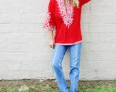 RED and white TUNIC blouse. bohemian 1970s cotton blend blouse. bright cherry red. hippie hipster top. ethnic embroidery nehru collar.