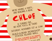 Build-A-Bear Inspired Invitation, Build a Bear Invitation, Girl Bear Invitation, Boy Bear Birthday Invite, Build a Bear, Teddy Bear Invite