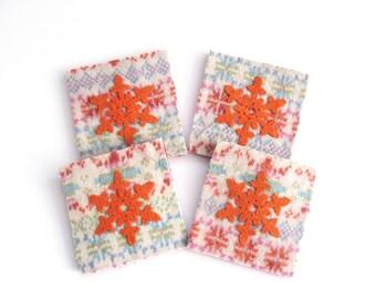 Winter Snowflakes , felted wool coasters ,  recycled wool , christmas gift , orange harris tweed snowflake , set of four