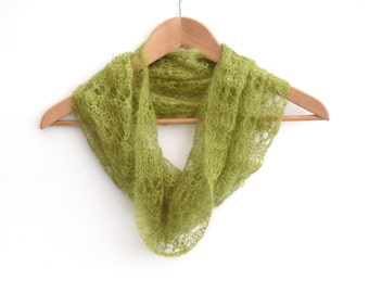 Hand knit Mohair cowl - delicate , intricate open lacework neck scarve - ideal wedding accessory -  classic womens scarf