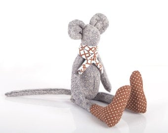 Doll - ooak City mouse in black and white woven pure silk wears brown dotted socks & pale blue geometric Scarf  - timohandmade fabric doll