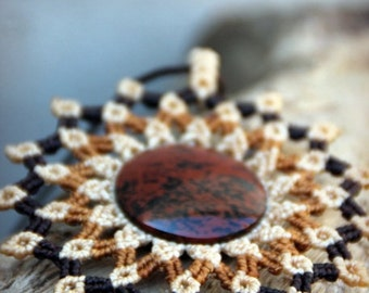 Micro macrame STATEMENT necklace MANDALA with mahogany OBSIDIAN gemstone handmade by ARUMIdesign