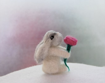 Needle Felted Bunny. Miniature Animals. Gifts For Little Girls. Needle Felted Animals. Needle Felted Rabbit. Felted Bunnies. Felted Toy.