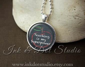 Back To School Gift, Teaching Is My Superpower Necklace, Teacher Gift, Teacher Necklace, Personalized Teacher Pendant, Gift For Teacher