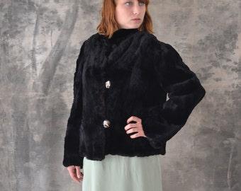 1950s Black Fur Jacket