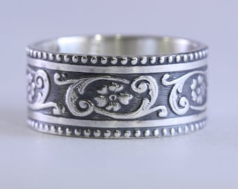 Floral Swirl Sterling Silver Wide Ring Band, Wedding Band, Women, Unique, Custom Made