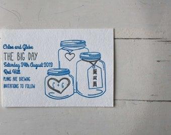 Mason Jar Letterpress Wedding Invitation