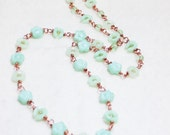 Once Upon A Garden Green Czech Glass on Copper wire Long Chain Necklace Simple Art Jewelry by Ardent