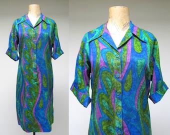 Vintage 1960s Dress / 60s Jewel-tone Psychedelic Print Shirt Dress / Medium