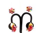 Vintage 1950s Designer Earrings Red Aurora Borealis Rhinestones Weiss Vogue 2 pair