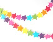 Rainbow Star Bunting - made with wool blend felt in bright rainbow colours, perfect for kids room or birthday - HandmadeCuddlesShop
