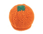 Orange Hat - Soft Hand Knit - Baby size - Made to Order