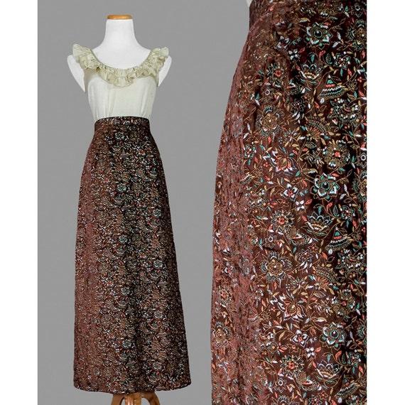 Vintage Boho Maxi Skirt - 70s Maxi Skirt - Floral Brown Velvet Maxi Skirt - 1970s Maxi Skirt - ON SALE!