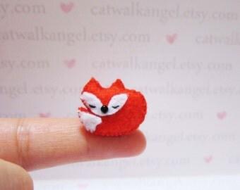 Felt Miniature - Felted Miniature fox - Felted fox - red fox felted miniature - fox miniature - tiny fox - felted red fox - miniature fox