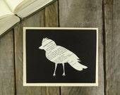 Handcut Bird Notecard - Upcycled Poetry