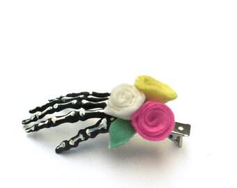 Skull Hand Hair Clip, Gothic Lolita, Skeleton Hand Clip, Skeleton Slip, Pastel Goth, Skull Hand Hair Clip