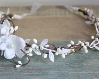 White Flower Crown, Wedding Headpiece, Bridal Tiara, Hair Flower - HOPE - by DeLoop