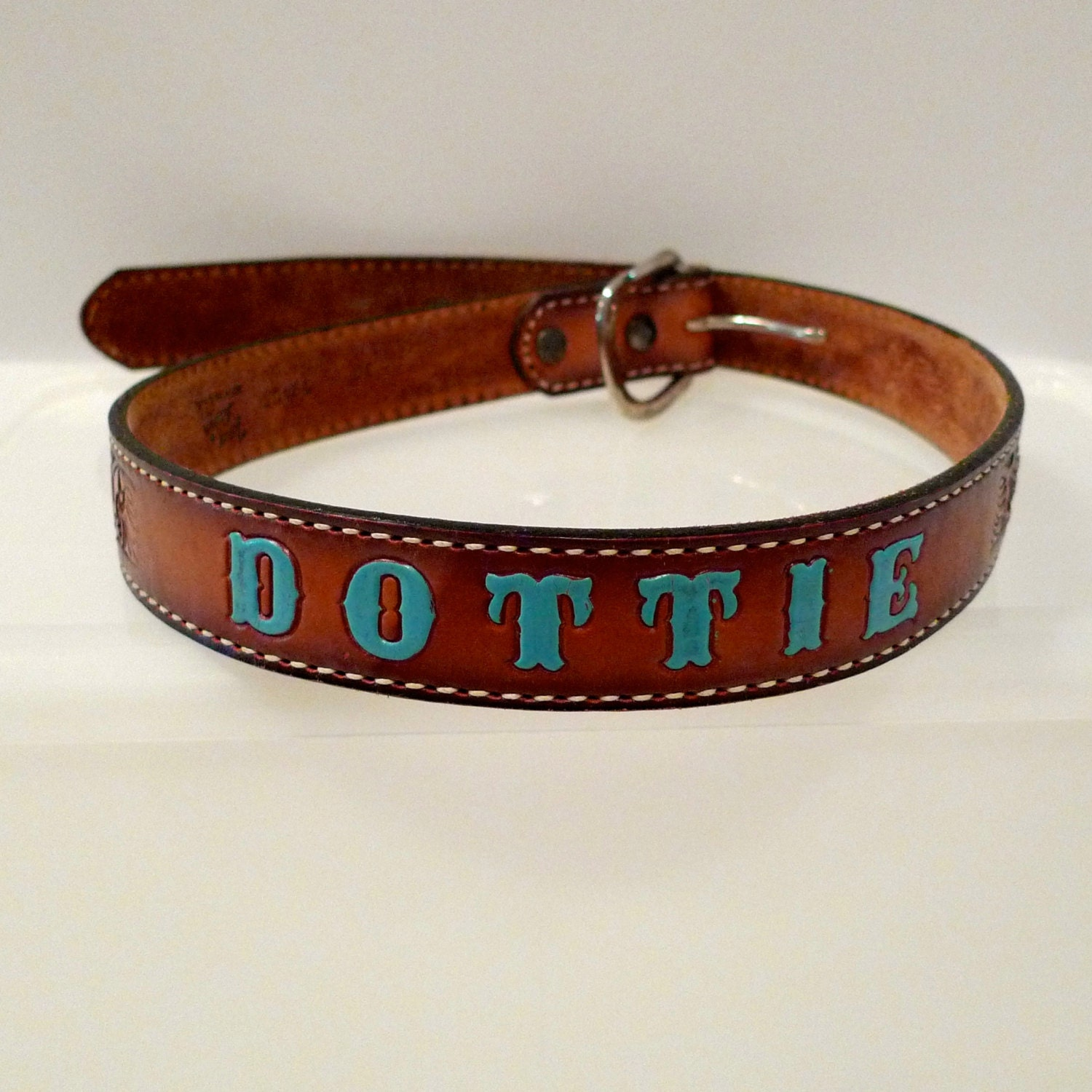 dottie tooled leather belt personalized womens 30 by