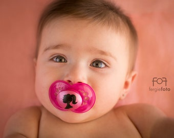 Pink Cameo Doll Face Custom Hand Painted MAM Pacifier by PiquantDesigns