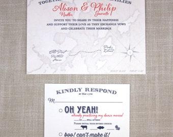 Peaks Island Map Wedding Invitation