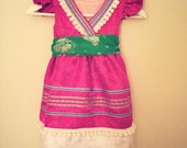 Hmong pink dress with trims