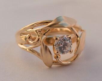 Leaves Engagement Ring No. 5 - 14K Rose Gold and Diamond engagement ring, unique engagement ring, leaf ring, antique, art nouveau,vintage