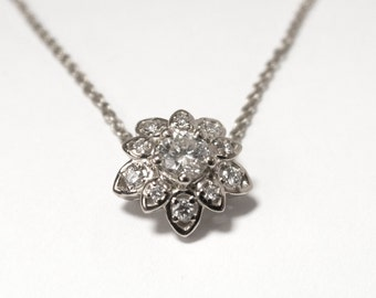 Diamond Art Deco Petal Pendant - 14K White Gold and Diamond Pendant, leaf pendant, flower pendant, antique, vintage, halo pendant