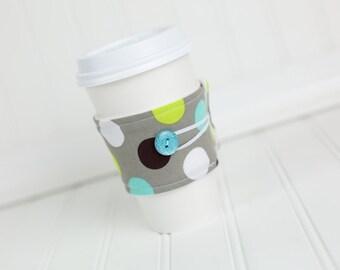 Reusable Coffee Sleeve Grey Green Aqua Blue Polka Dot Fabric