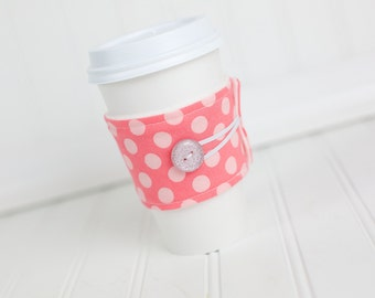 Coffee Sleeve Coffee Cozy Pink Polka Dot for Women Girls Reusable Cozy Cuff