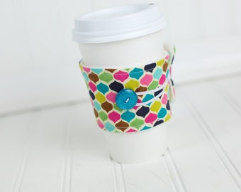 Fabric Coffee Sleeve  Funky Multi Color Pattern, Reusable Coffee Cuff Cozy, Coworker Gift, Women's